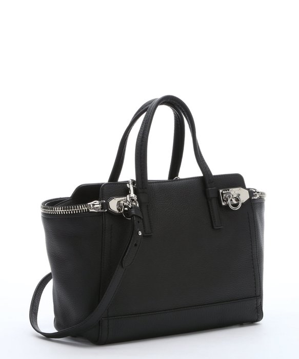 SALVATORE FERRAGAMO Black Calfskin Small 'Verve' Zipper Tote Bag ...