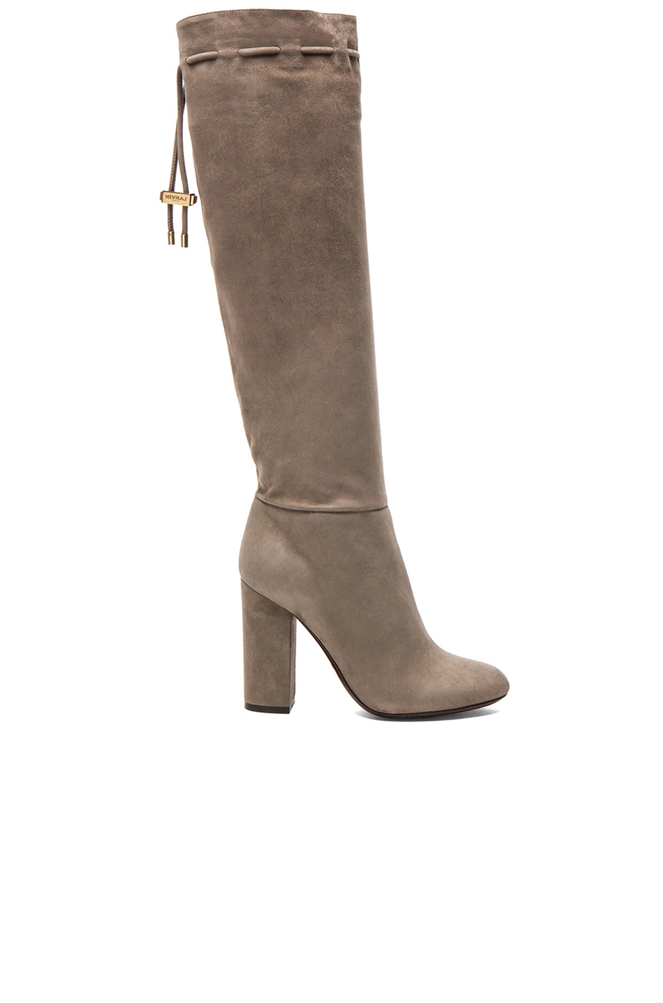 LANVIN Knee High Suede Boots In Mastic at FORWARD