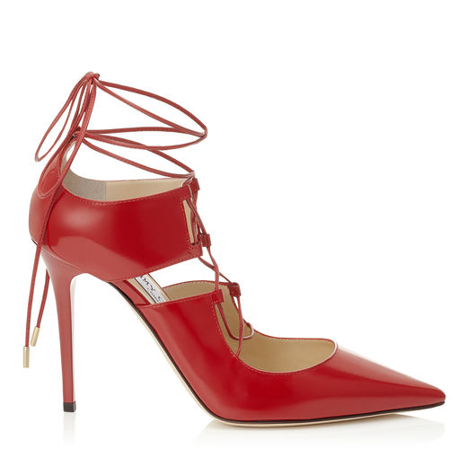 JIMMY CHOO Hoops 100 Ballet Pink Shiny Leather Pointy Toe Lace Up Pumps in Red