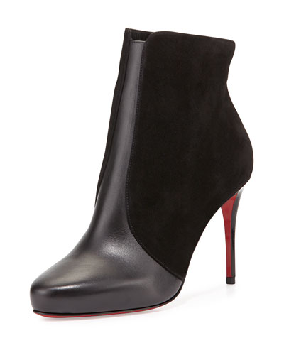 CHRISTIAN LOUBOUTIN Gaetanina Paneled Red Sole Bootie, Black at BERGDORF GOODMAN