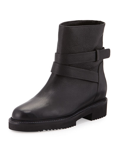 VINCE Cagney Shearling Fur-Lined Leather Moto Boot