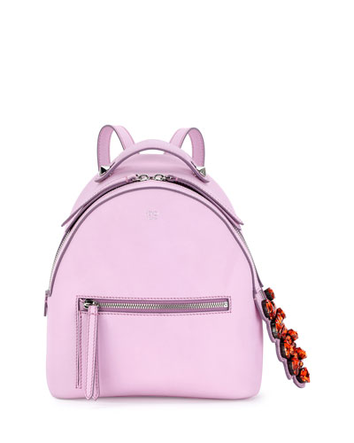 FENDI Leather Backpack W/ Crystal Tail Detail, Pink