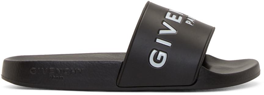 GIVENCHY 20Mm Logo Embossed Rubber Slide Sandals, Black at SSENSE