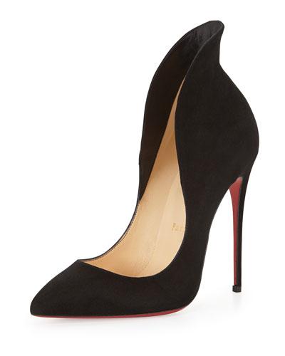 CHRISTIAN LOUBOUTIN Mea Culpa Flared Suede Red Sole Pump, Black at Neiman Marcus