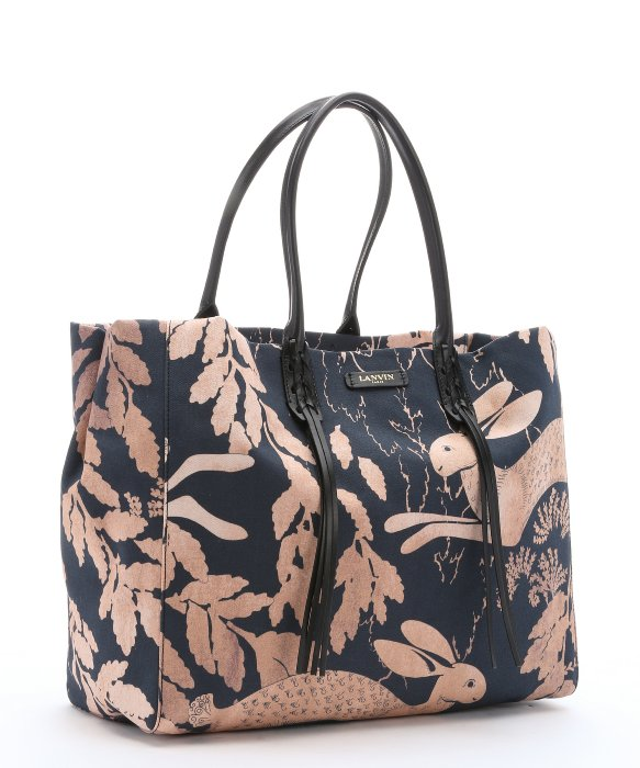 LANVIN Navy And Peach Bunny Print Canvas Large Tote Bag in Peach / Navy / Black