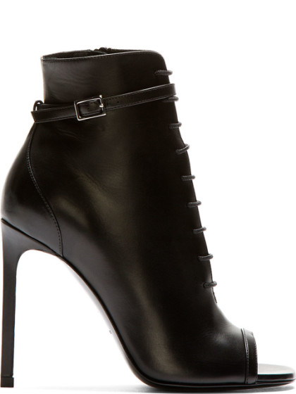 SAINT LAURENT Classic Jane Open-Toe Laced Ankle Boot In Black Crocodile Embossed Leather