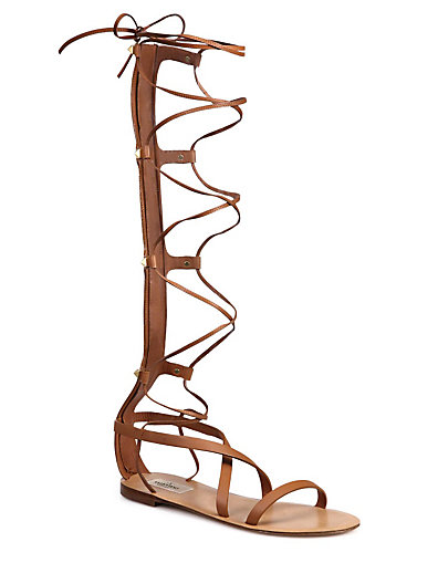 VALENTINO Rock Stud Leather Knee-High Gladiator Sandals at Saks Fifth Avenue