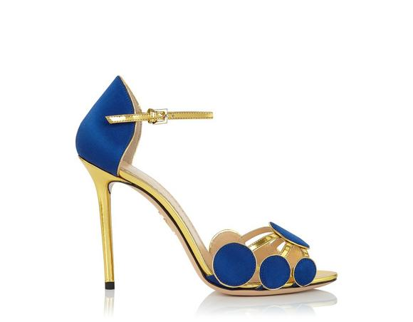 CHARLOTTE OLYMPIA Cobalt Blue Satin Silk And Leather Contemporary Sandal at CHARLOTTE OLYMPIA
