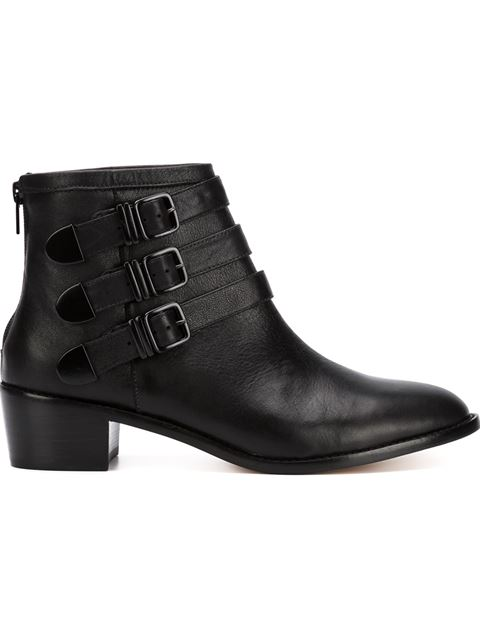 loeffler randall fenton buckled leather ankle boots in
