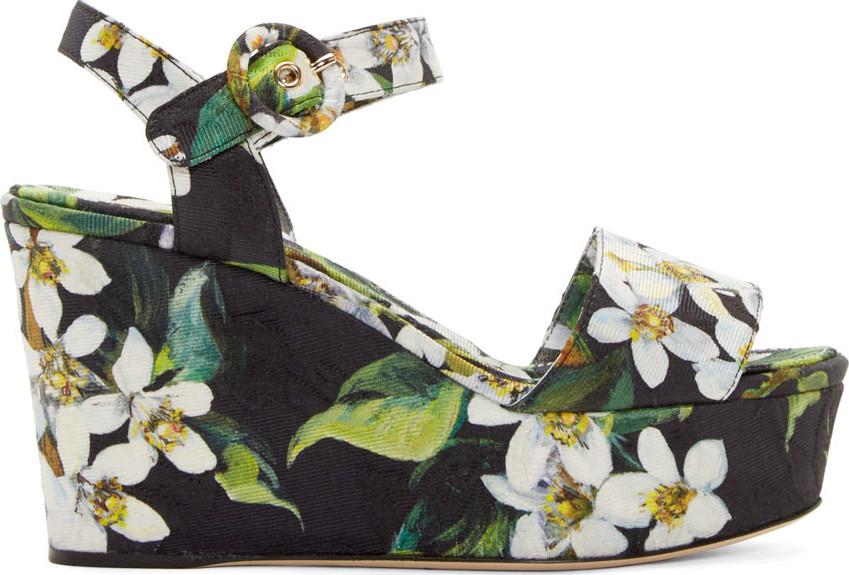 DOLCE & GABBANA Orange Blossom Print Brocade Wedge Sandals