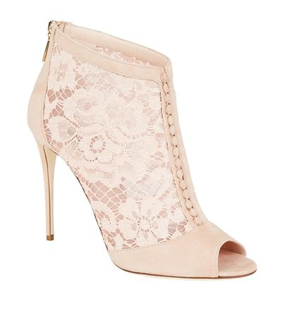 DOLCE & GABBANA 105Mm Keira Suede & Lace Ankle Boots, Blush