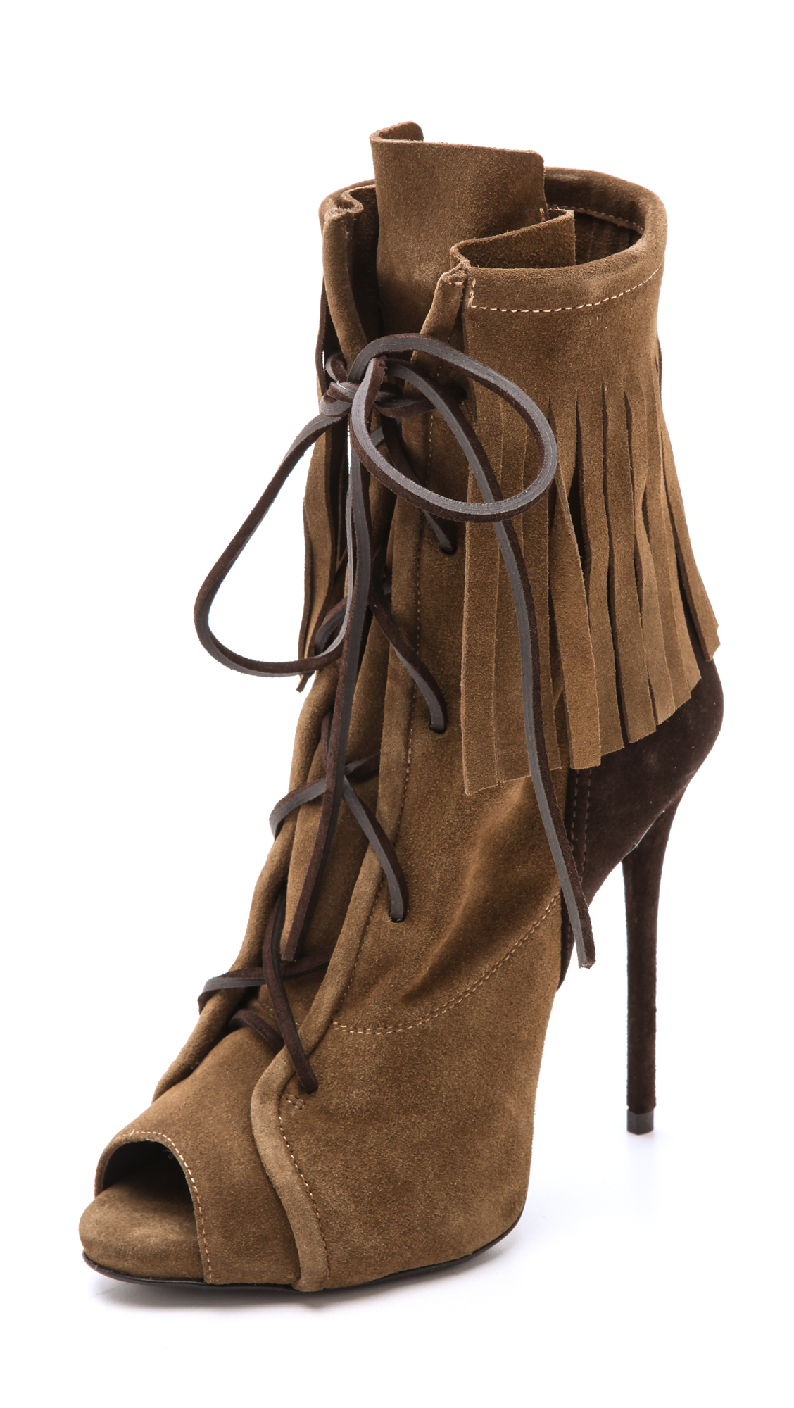 GIUSEPPE ZANOTTI Fringed Suede Ankle Boots at Shopbop