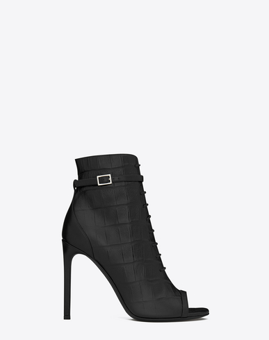 SAINT LAURENT Classic Jane Open-Toe Laced Ankle Boot In Black Crocodile Embossed Leather at SAINT LAURENT