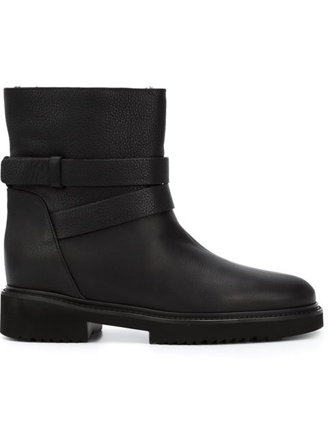 VINCE Cagney Shearling Fur-Lined Leather Moto Boot at Farfetch
