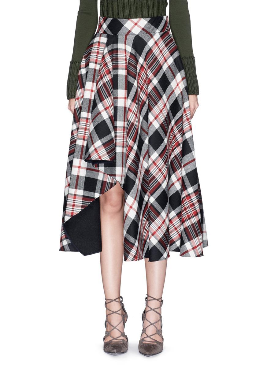 ALEXANDER MCQUEEN Asymmetric Hem Tartan Plaid Wool Midi Skirt at Lane Crawford