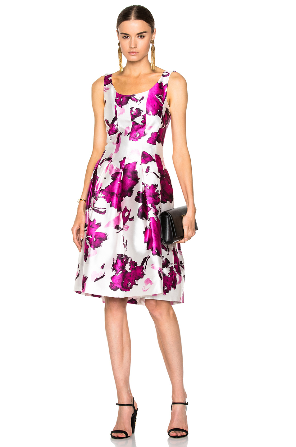 OSCAR DE LA RENTA Watercolor Floral-Print Mikado Cocktail Dress, Magenta at FORWARD