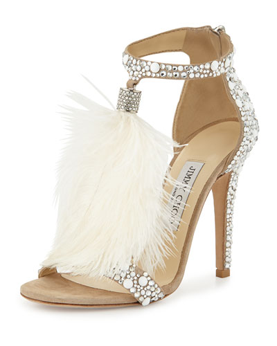 9419fd2fde ... jimmy choo viola 110 white suede and hot fix crystal embellished sandals  with an ostrich feather ...