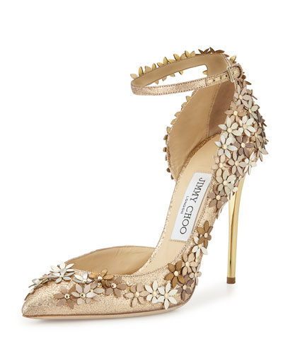 JIMMY CHOO Lorelai 100 Nude Fine Glitter Fabric Pumps With Champagne Flower Mix Embellishment