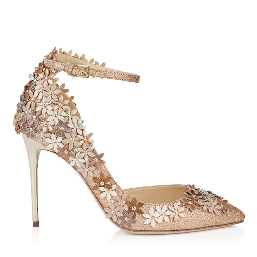 JIMMY CHOO Lorelai 100 Nude Fine Glitter Fabric Pumps With Champagne Flower Mix Embellishment at Jimmy Choo