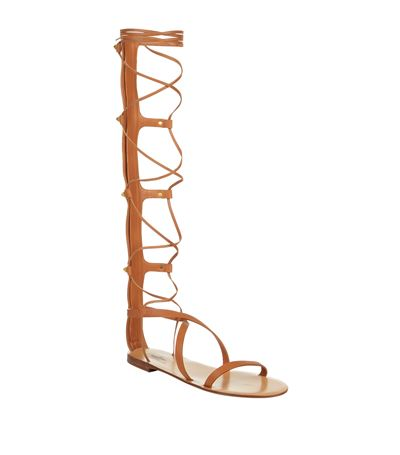 VALENTINO Rock Stud Leather Knee-High Gladiator Sandals at Harrods