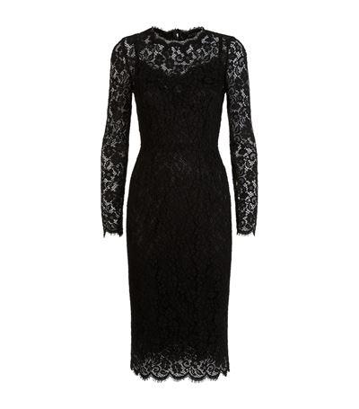 DOLCE & GABBANA Floral-Lace Long-Sleeve Dress, Black at Harrods