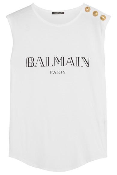 BALMAIN Logo Cotton Jersey Sleeveless Top, White at NET-A-PORTER