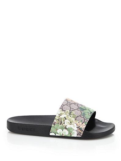 Gucci Pursuit Floral Slider Sandals In Multi Modesens