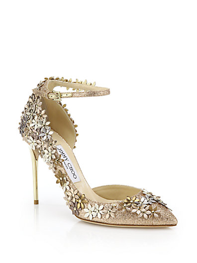 JIMMY CHOO Lorelai 100 Nude Fine Glitter Fabric Pumps With Champagne Flower Mix Embellishment at Saks Fifth Avenue