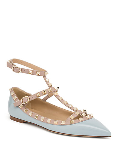 VALENTINO Rockstud Patent Leather Cage Flats at Saks Fifth Avenue
