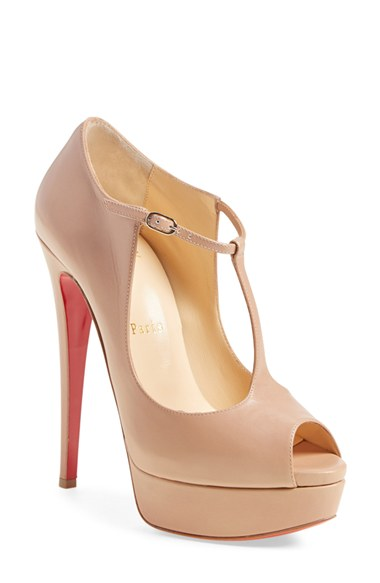 CHRISTIAN LOUBOUTIN Alta Poppins T-Strap Red Sole Pump, Nude in Nude Leather