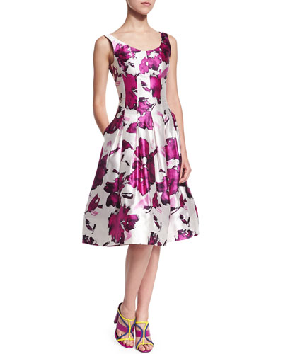 OSCAR DE LA RENTA Watercolor Floral-Print Mikado Cocktail Dress, Magenta at BERGDORF GOODMAN