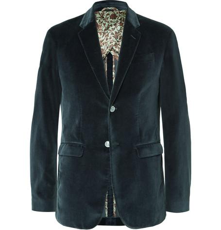 GUCCI Blue Slim-Fit Cotton-Velvet Blazer