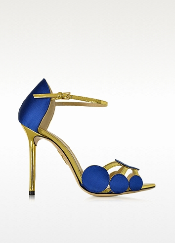 CHARLOTTE OLYMPIA Cobalt Blue Satin Silk And Leather Contemporary Sandal at FORZIERI