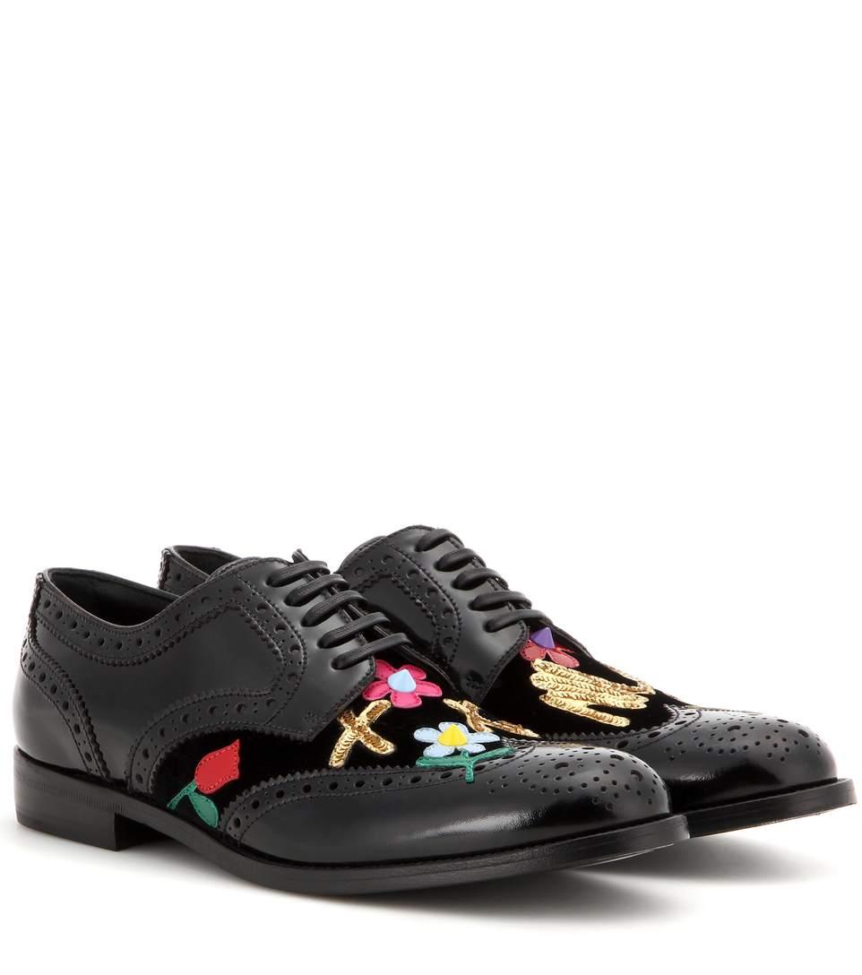 DOLCE & GABBANA Black Embellished Floral Mama Derbys