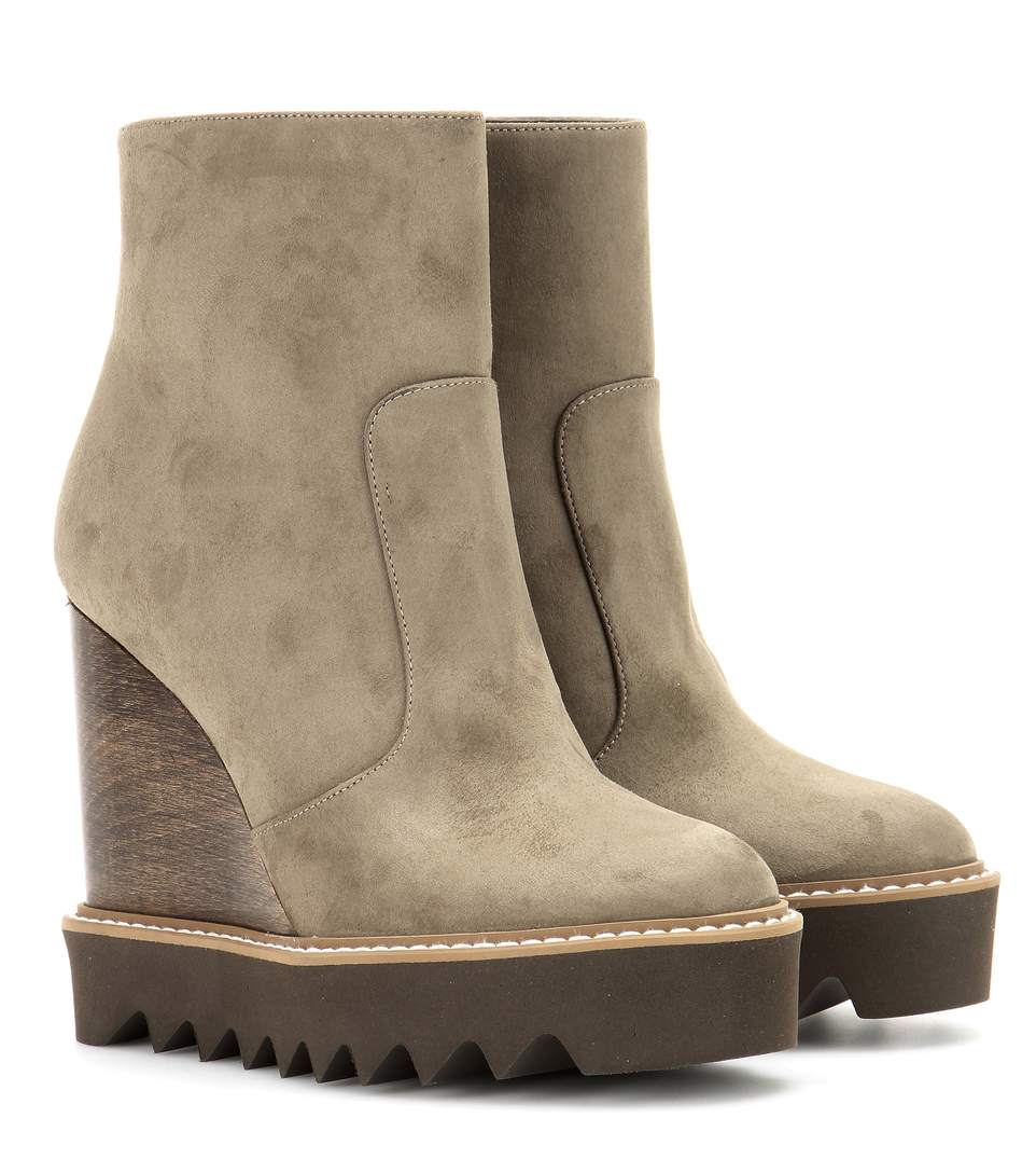 STELLA MCCARTNEY Faux Suede Platform Ankle Boots in Military Green