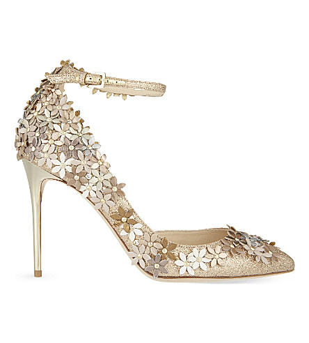 JIMMY CHOO Lorelai 100 Nude Fine Glitter Fabric Pumps With Champagne Flower Mix Embellishment at Selfridges