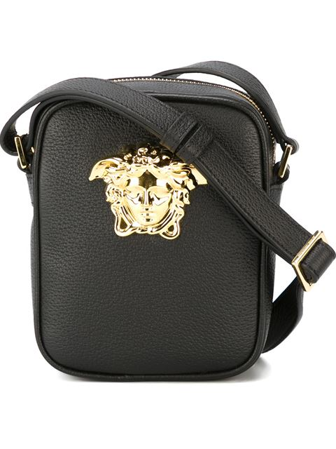versace black small medusa messenger bag black gold. Black Bedroom Furniture Sets. Home Design Ideas