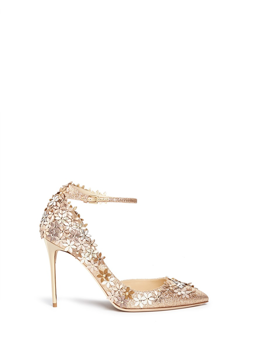 JIMMY CHOO Lorelai 100 Nude Fine Glitter Fabric Pumps With Champagne Flower Mix Embellishment at Lane Crawford