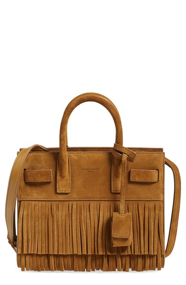 SAINT LAURENT Sac De Jour Nano Suede Fringe Satchel Bag, Light Ochre