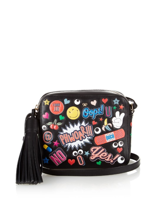 ANYA HINDMARCH Crossbody All Over Wink Stickers Bag In Black Circus Leather at MATCHESFASHION.COM