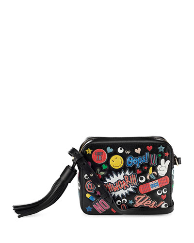 ANYA HINDMARCH Crossbody All Over Wink Stickers Bag In Black Circus Leather at Neiman Marcus