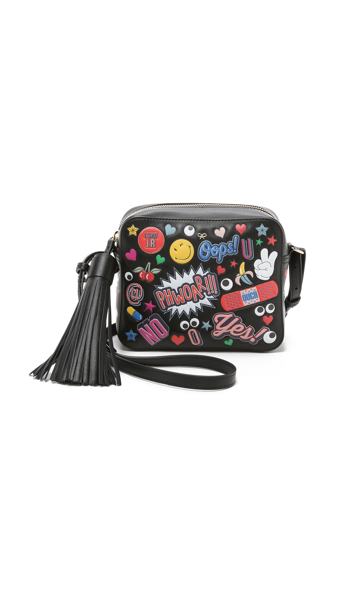 ANYA HINDMARCH Crossbody All Over Wink Stickers Bag In Black Circus Leather at Shopbop