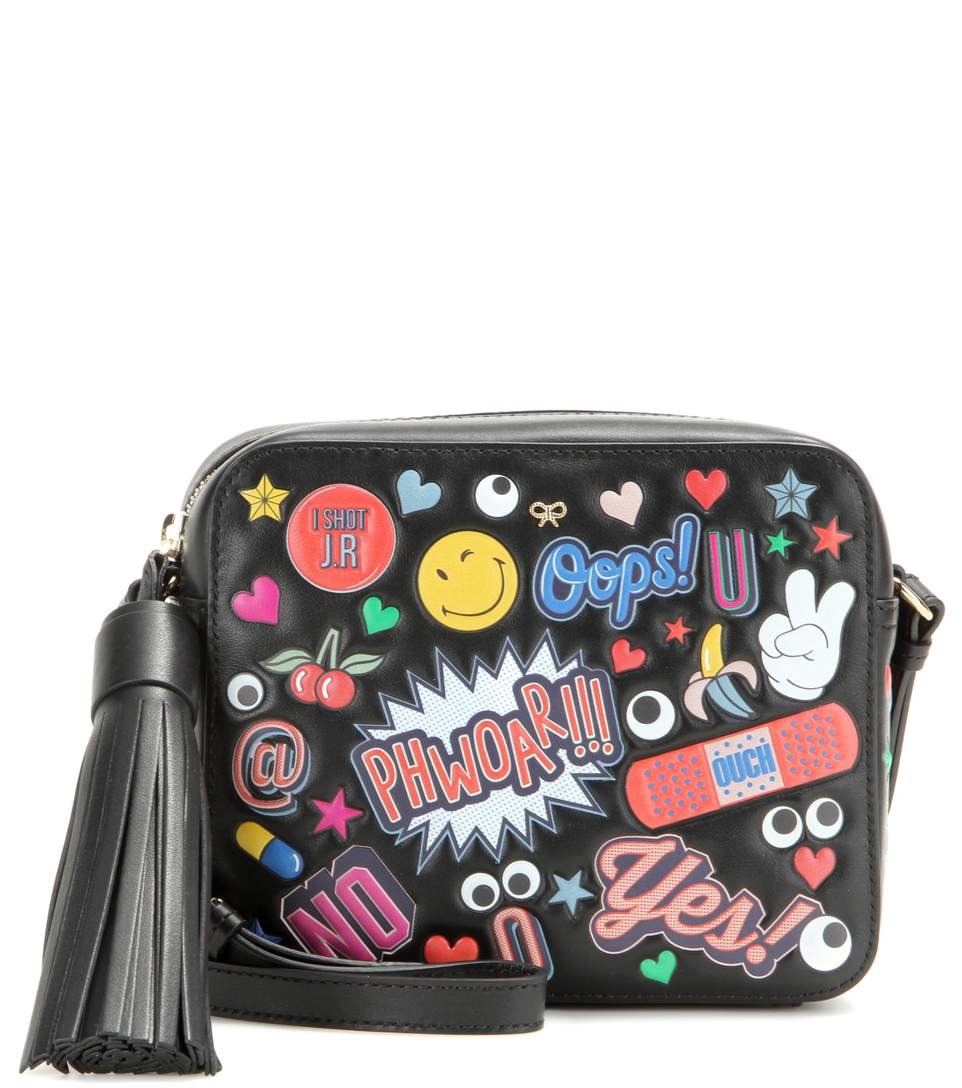ANYA HINDMARCH Crossbody All Over Wink Stickers Bag In Black Circus Leather at mytheresa.com