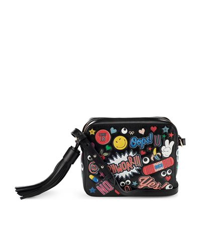ANYA HINDMARCH Crossbody All Over Wink Stickers Bag In Black Circus Leather at Harrods