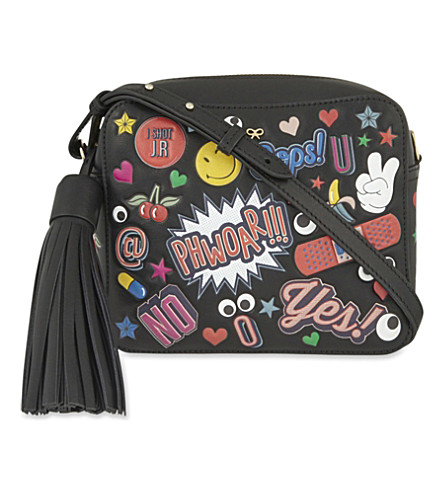 ANYA HINDMARCH Crossbody All Over Wink Stickers Bag In Black Circus Leather at Selfridges