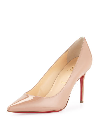 CHRISTIAN LOUBOUTIN Pigalle Follies Patent Point-Toe Red Sole Pump, Nude in Neutral