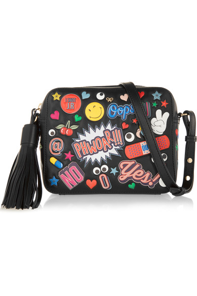 ANYA HINDMARCH Crossbody All Over Wink Stickers Bag In Black Circus Leather at NET-A-PORTER
