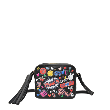 ANYA HINDMARCH Crossbody All Over Wink Stickers Bag In Black Circus Leather at MONNIER Frères
