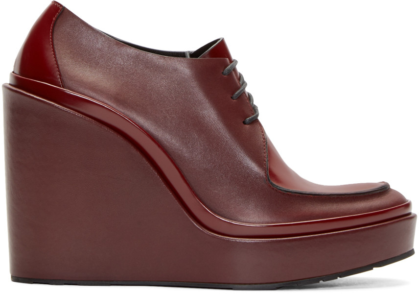 JIL SANDER Platform Leather Derby Shoes at SSENSE