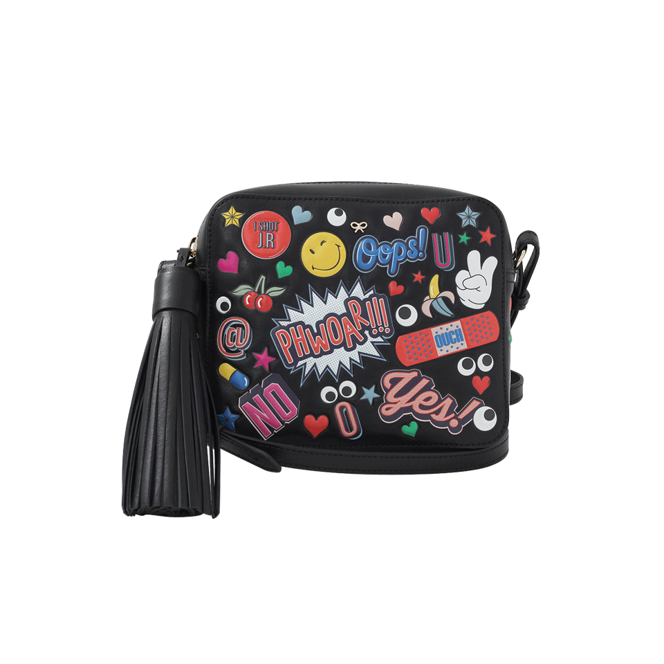 ANYA HINDMARCH Crossbody All Over Wink Stickers Bag In Black Circus Leather at Marissa Collections